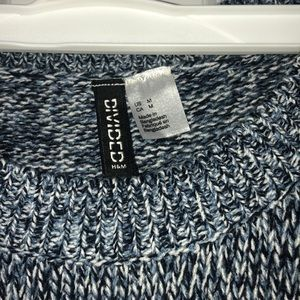 Divided Sweaters - blue white and black knitted sweater